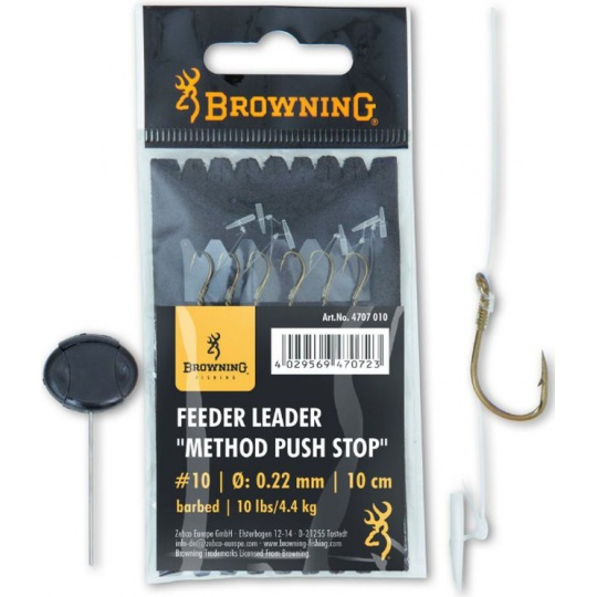 Browning Návazec feeder Leader Method push stop bronz, 18, 5lbs 0,16mm 10cm 6 Stück